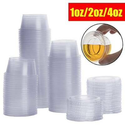 100/200X Small Food Grade PPSauce Cup Food Storage Containers Clear Boxes Lids