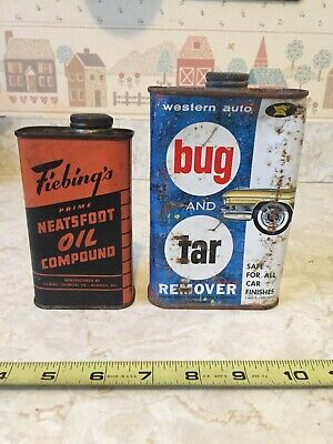 2 Vintage advertising tins Fiebing's Oil Compound & Western Auto Bug and Tar Rem