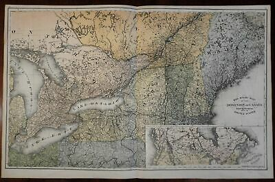 Railroads of Canada 1881 scarce old Canadian large old map