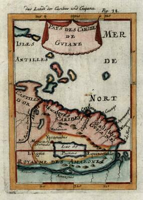 Guyana South America Amazon River 1719 charming miniature Mallet map