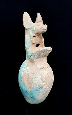Hieroglyphic Unique Anubis Vessel Egyptian Antique Vase Ancient Egypt Faience