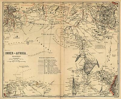 Inner Africa exploration overland routes c.1865 Meyer rare detailed map