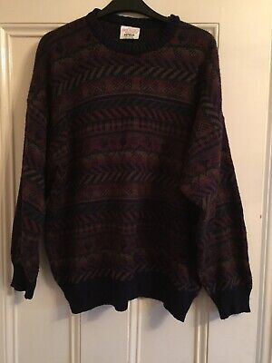 Vintage Retro 80s 90s Knitwear Hipster Cool On Trend Green Jumper Size M/L