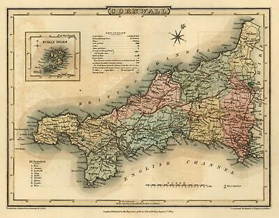 Cornwall England Scilly Isles 1808 English County Roper engraved map