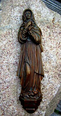 Beautiful Old Bronze Figure Mary Madonna 19,5 cm Wall Picture Relief 435 G