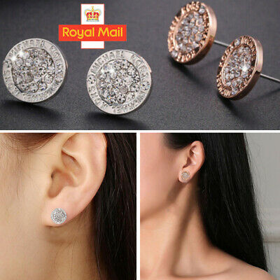 Elegant Gold Silver Rose Circle Crystal Stud Charm Earrings Jewelry Round Heart