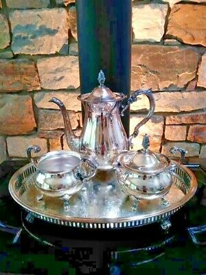 Tea Set by Poole Silverplate Bristol Pot Sugar Creamer and Tray Antique EAC 110