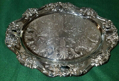 """Towle Silver Plate Oval Tray Footed Platter Flower Embossed Rose 13"""" X 10"""" EUC"""