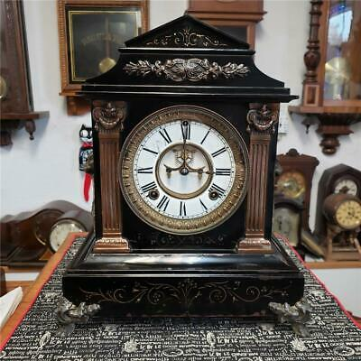 "Ansonia ""Timbrel"" Enameled Iron Black Mantle Clock"