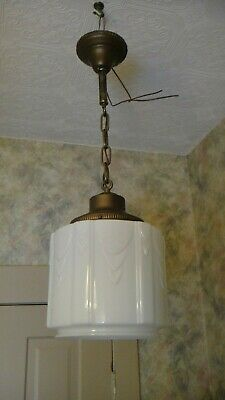 "Vintage Schoolhouse Pendent Ceiling Light Fixture 10"" W~Art Deco 30s-40s"