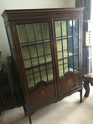 Antique Inlaid Mahogany Bookcase-Stunning
