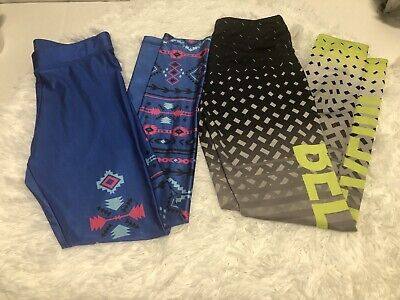 2 pair GIRLS JUSTICE LEGGINGS PANTS blue Print gray Black  stretchy SIZE 10