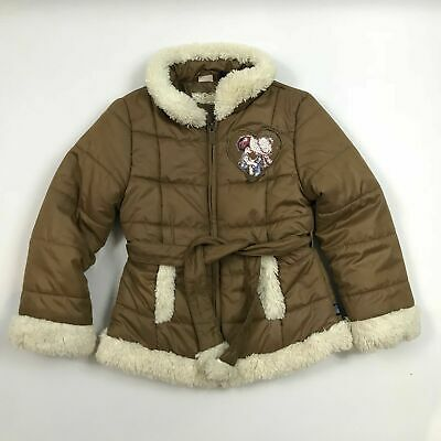 Girls Quilted Jacket Age 6 Tan Brown Cream Wool Trim Childs Kids Puffer Coat