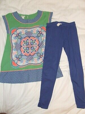 Girls Monsoon blue and green top and matching leggings, stunning!