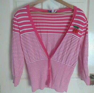 Next Size 14 Pink and white Striped Cardigan cherry motif