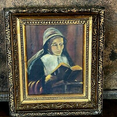 Antique 19th Century Religious Oil Painting of Nun Praying / Conventual sister