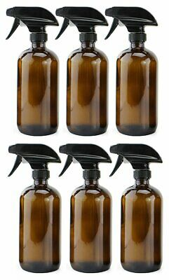 16oz Amber Glass Spray Bottles (6 Pack), Boston Round Bottles W/Heavy Duty Mis..