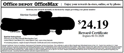 Office Depot Rewards Gift Card Value $24.19 FREE SHIPPING