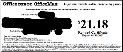 Office Depot Rewards Gift Card Value $21.18 FREE SHIPPING