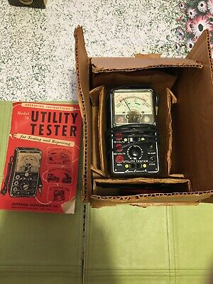 Vintage Superior Model 70 Utility Tester with Book, Box & Leads  Estate Clean