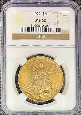 1922 $20 American Gold Double Eagle MS62 NGC Saint Gaudens Mint RARE Date Coin!