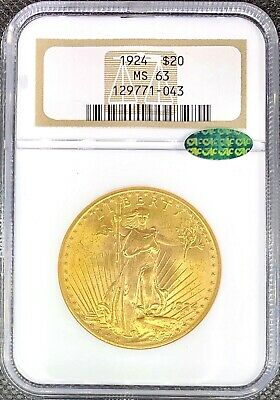 1924 $20 American Gold Double Eagle Saint Gaudens MS63 NGC CAC Certified Coin!