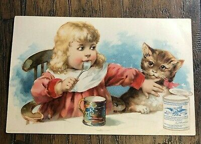 Vintage 1880s Victorian Trade Card EAGLE CONDENSED MILK - Advertising Girl w Cat