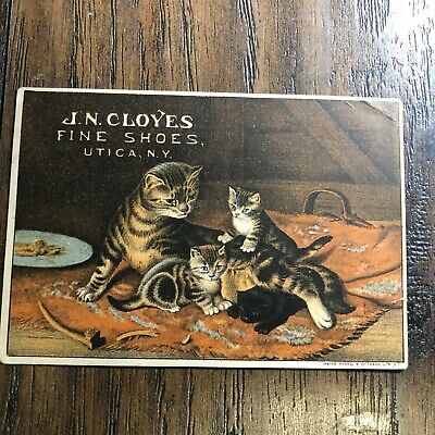 Vintage 1880s Victorian Trade Card JN CLOYES FINE SHOES Antique Cats Advertising