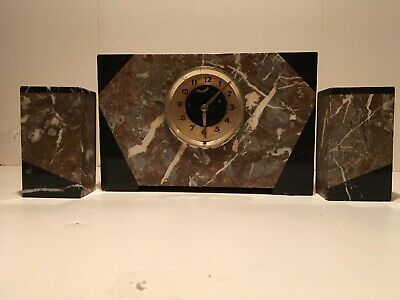 Vintage French Mantel Art Deco Black And Brown Marble Clock Case And Pillars