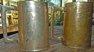 """2 WW2 Beer TANKARDS """"Made From BRASS Salvaged From BATTLEFIELDS Of North Africa"""""""