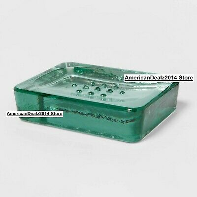 Solid Recycled Green Glass Soap Dish Vintage Style Threshold