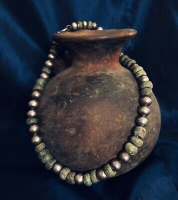 Pre-Columbian Jade Bead Antique Necklace Sterling Silver Large Old Beads & Clasp