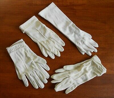 Vintage Ladies Gloves - 4 Pair White & Off White Embroidery Broderie Anglaise