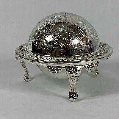 Antique Silver Plated Regency Butter Dish Roll Top Dome Mayell England In Box