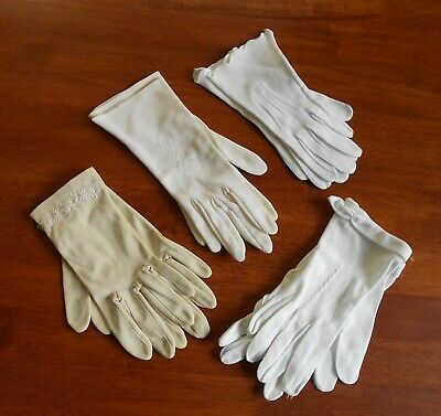 Vintage ladies Gloves - 4 Pair - White, Cream, Beige Embroidered Germany C1950s