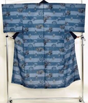 Vintage Mens Japanese Denim Blue Muslin 'Stripes & Arrows' Juban/Kimono/Robe M/L