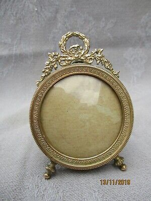 ANTIQUE FRENCH GILT BRONZE BRASS PHOTO FRAME LOUIS XVI STYLE CURVED GLASS XIXth