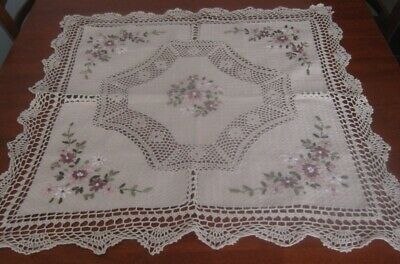 Vintage Cotton + Crocheted Lace Tablecloth ~ Ribbon Flowers
