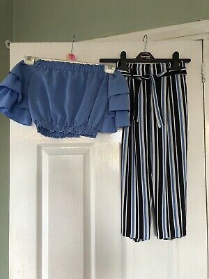 Girls River Island Age 7 Party Outfit Ruffle Bardot Top And Striped Trouser 99p