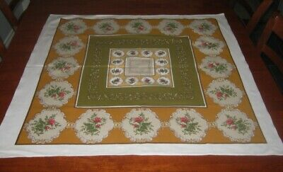 Vintage Supper Cloth ~ Small Pink Flowers ~ Cotton ~ Square