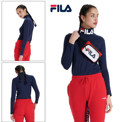Fila Womens Yvette Fitted Roll Neck Polos Jumper Pullover Top Peacoat Heat Gym