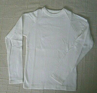 Vintage Stretch Ribbed Crew Neck Top -Age 12 Years - White Cotton/Nylon- New
