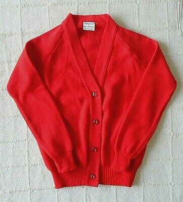 Vintage School Cardigan - Age 7-8 Years Approx - Red - Acrylic - New