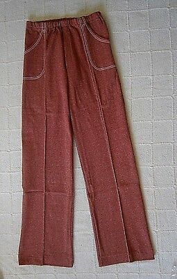 Vintage Stretch Flared Trousers -Age 12 -152 cm -Terracotta - Elastic Waist -New