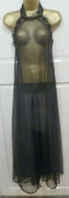 Vintage 70S Gorgeous Black Sheer Nylon Halter Neck Nightdress Size Wms 12
