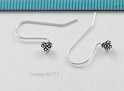 4x STERLING SILVER EAR WIRE FRENCH HOOK EARRINGS with PEARL 3.9mm CUP PIN #2701