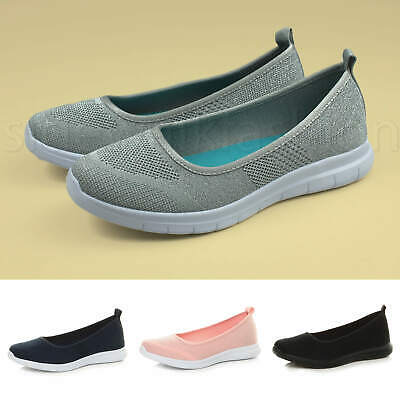 Womens ladies memory foam flats trainers work gym ballerina dolly shoes size