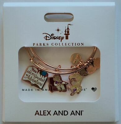 Disney Parks Alex and Ani Pixar Up Carl and Ellie Adventure Book Bracelets NEW