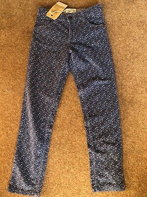 BNWT Fat Face girls cord trousers 10-11 blue ditsy flower print