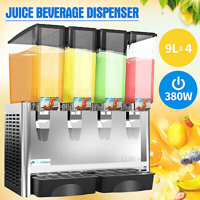 4 Tank Commercial Juice Beverage Dispenser Cold Drink w/ Thermostat Controller